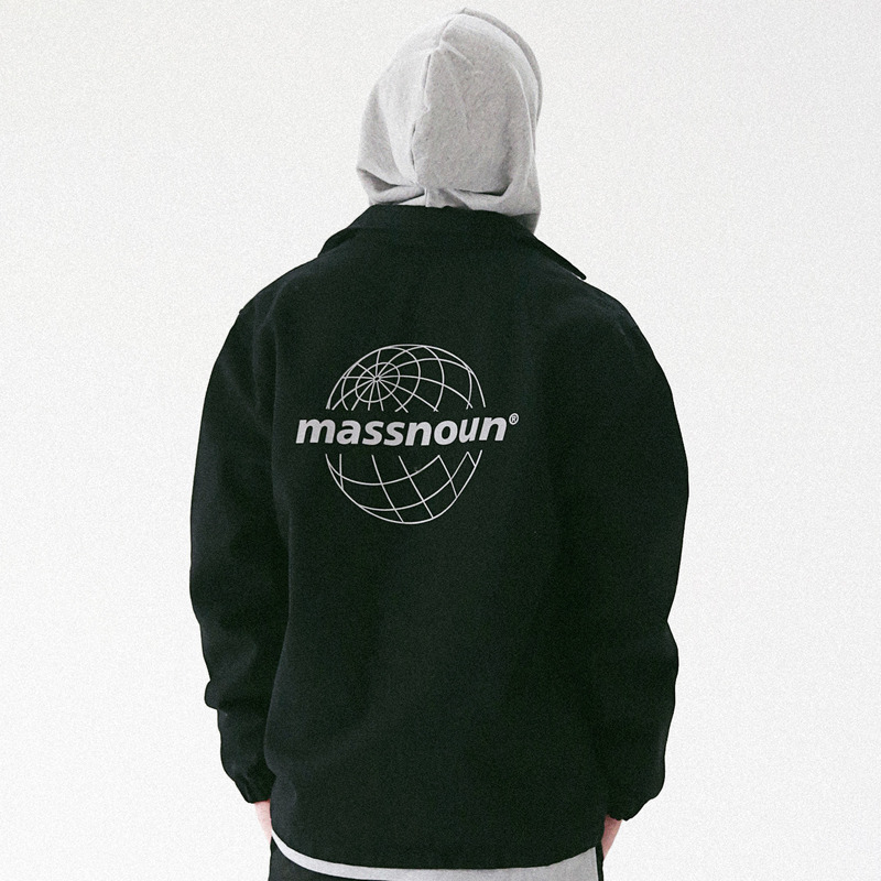 [MASSNOUN] GLOBE SCOTCH LOGO COACH JACKET MFVJK003-BK