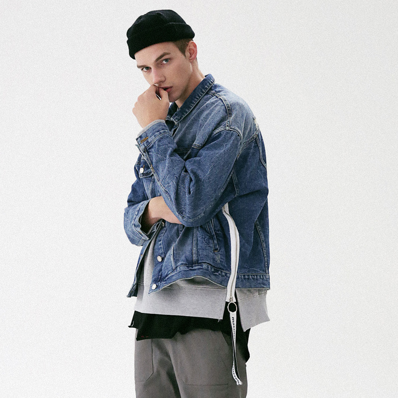 [MASSNOUN] TAPE O-RING DAMAGE OVERSIZED DENIM JACKET MFVJK002-BL