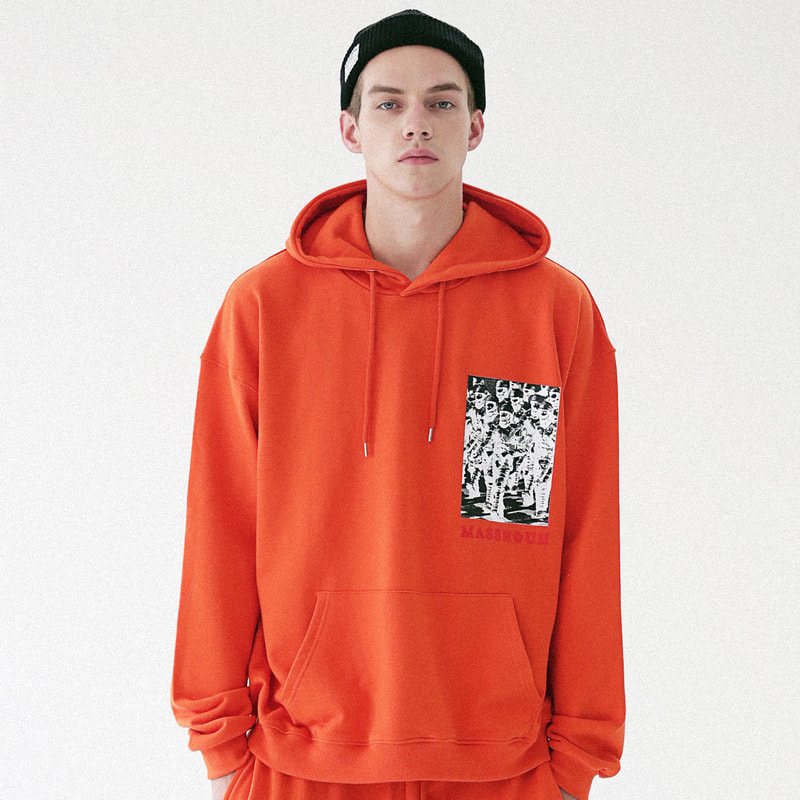 [MASSNOUN] ARMING OVERSIZED HOODIE SWEATSHIRT MFVHD001-OR