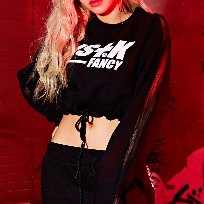 [NSTK] SIDE MESH CROP SWEATSHIRTS (BLK)