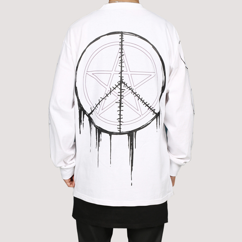 [FION] SEW CIRCLE LONG SLEEVE T-SHIRTS WHITE