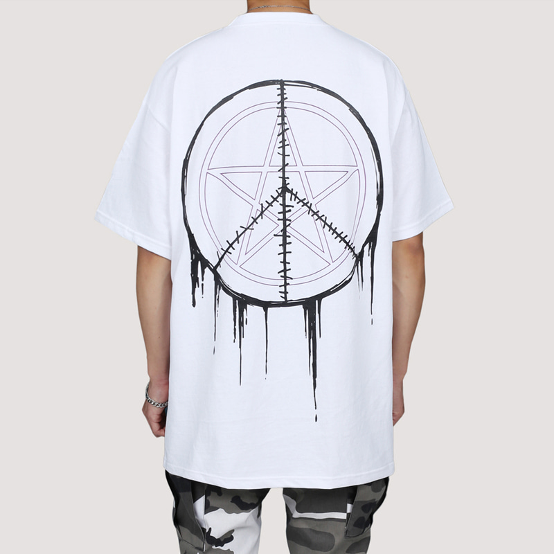 [FION] SEW CIRCLE LONG T-SHIRTS WHITE
