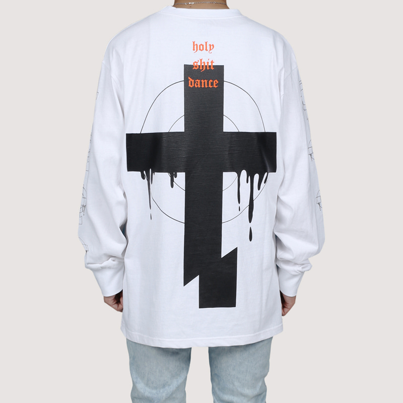[FION] CROSS CUT LONG SLEEVE T-SHIRTS WHITE