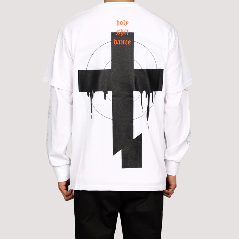 [FION] CROSS CUT T-SHIRTS WHITE