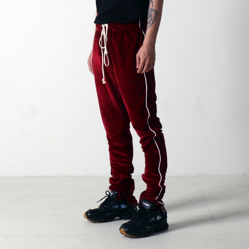 [$ SHOP SALE] [EPTM] VELOUR TRACK PANTS (BURGUNDY)
