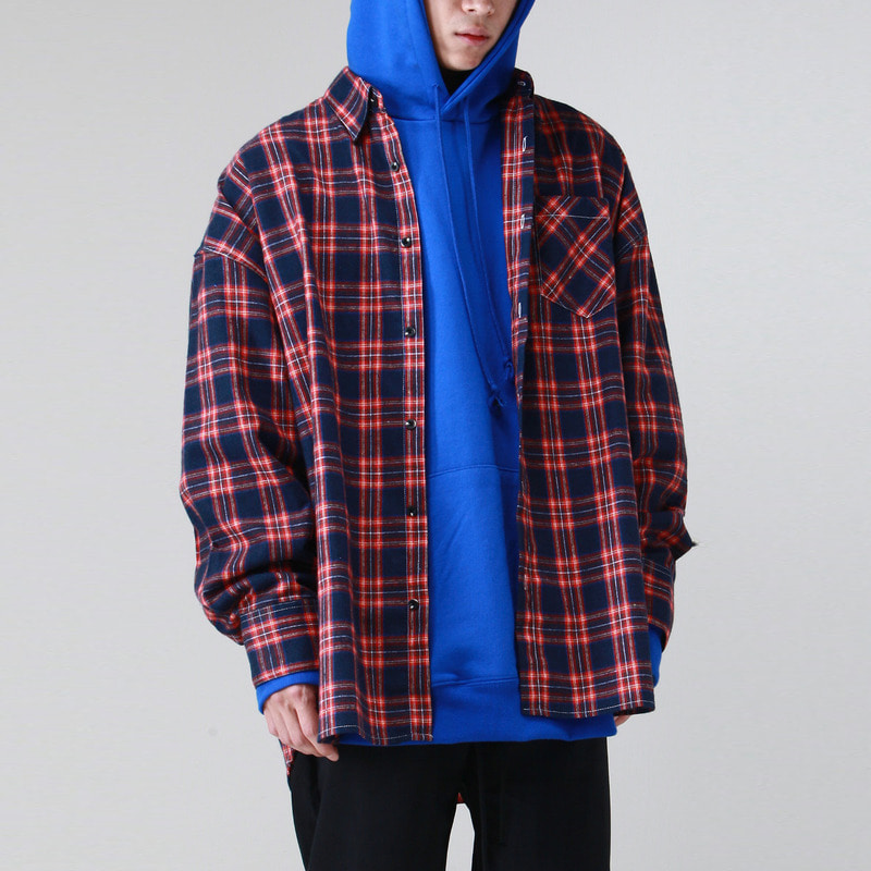 [TAKEASY] FLANNELETTE OVER SHIRTS (NAVY)