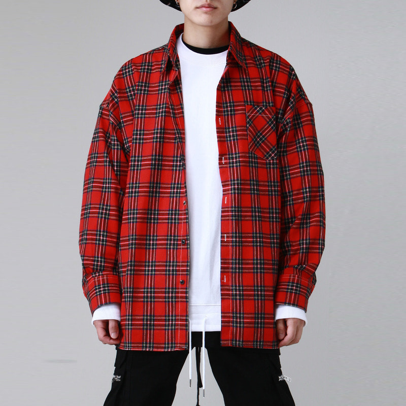 [TAKEASY] FLANNELETTE OVER SHIRTS (RED)