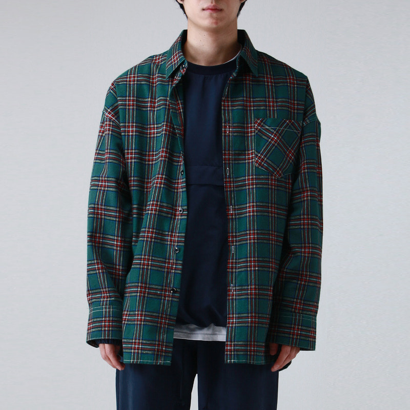 [TAKEASY] FLANNELETTE OVER SHIRTS (GREEN)
