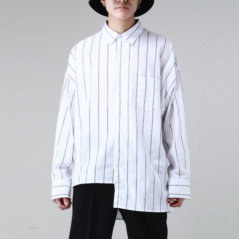 [TAKEASY] UNBALANCED STRIPE OVER SHIRTS (WHITE)