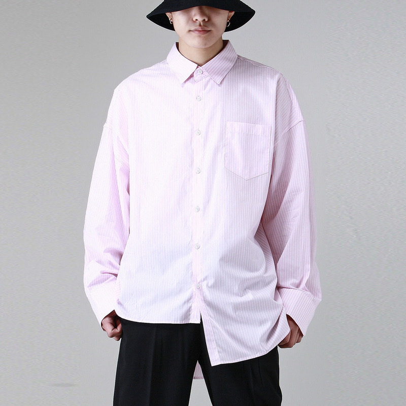 [TAKEASY] UNBALANCED STRIPE OVER SHIRTS (PINK)