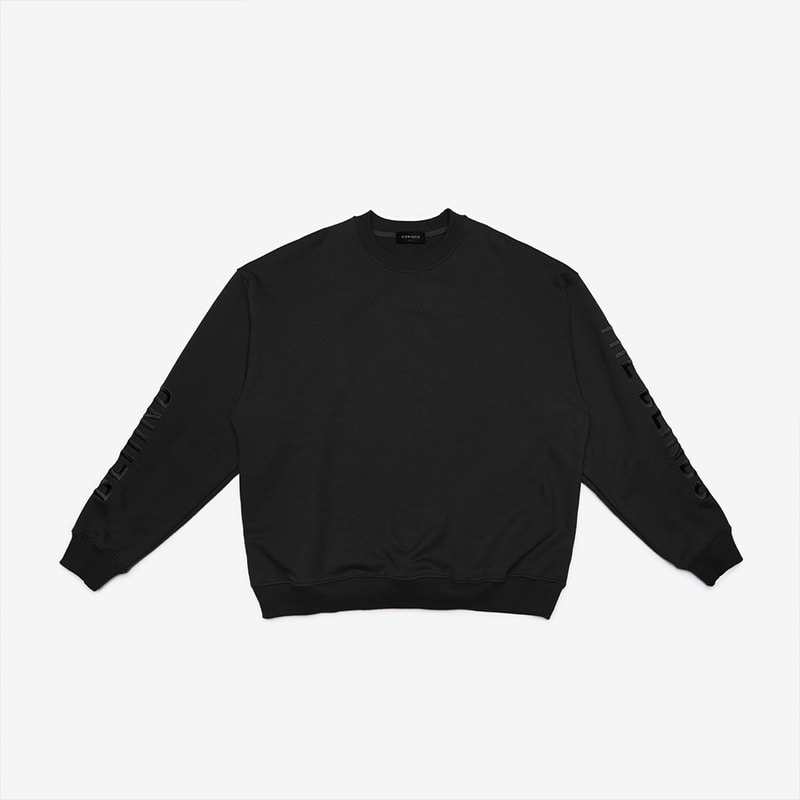 [DPRIQUE] OVERSIZED SLOGAN SWEATSHIRT - BLACK