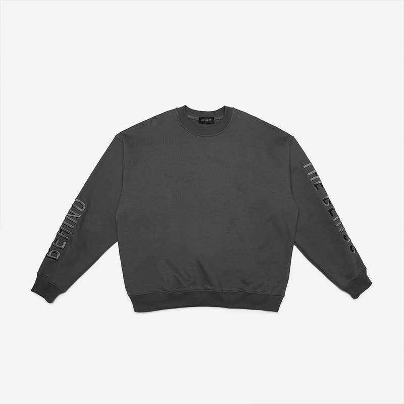 [DPRIQUE] OVERSIZED SLOGAN SWEATSHIRT - CHARCOAL