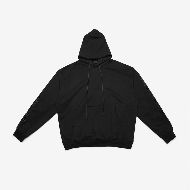 [DPRIQUE] OVERSIZED SLOGAN HOOD - BLACK