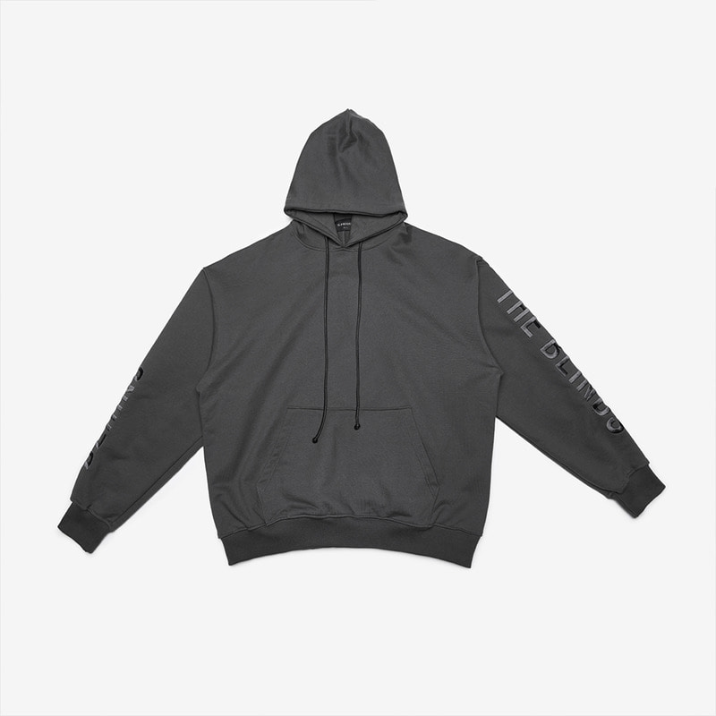 [DPRIQUE] OVERSIZED SLOGAN HOOD - CHARCOAL