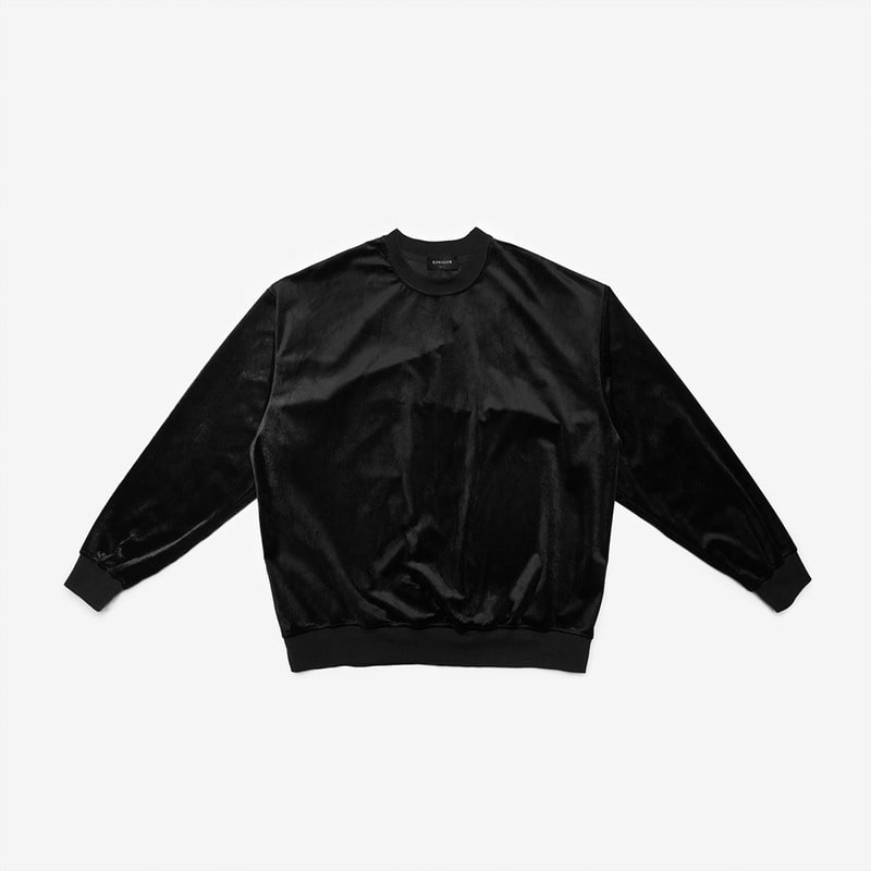 [DPRIQUE] OVERSIZED VELOUR SWEATSHIRT - BLACK