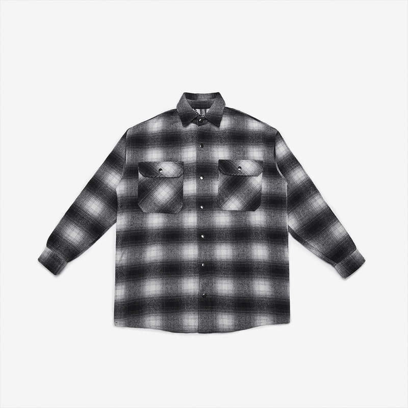 [DPRIQUE] OVERSIZED FLANNEL SHIRT JACKET - BLACK