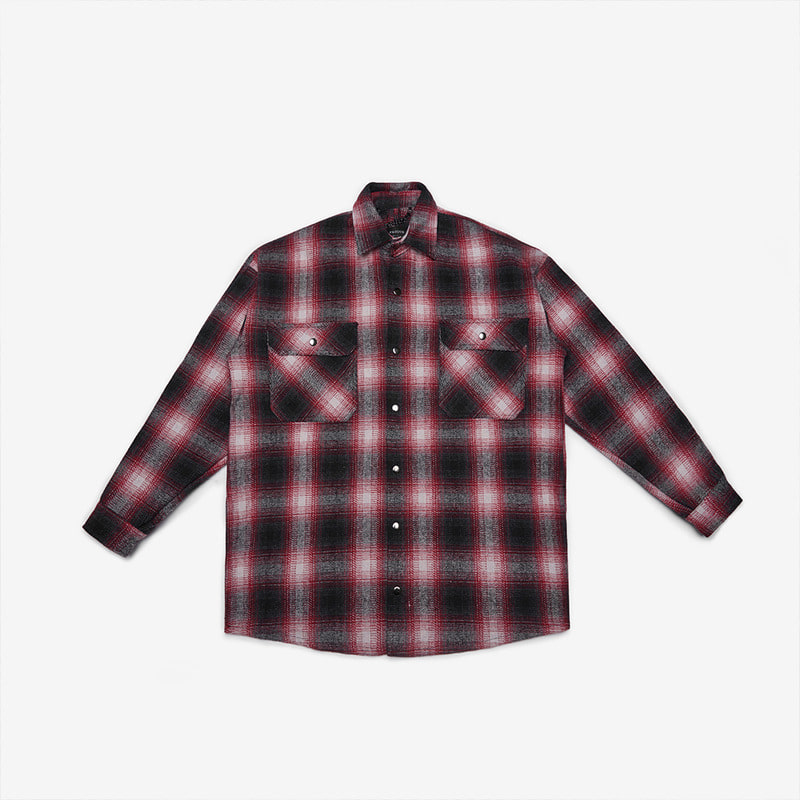 [DPRIQUE] OVERSIZED FLANNEL SHIRT JACKET - BURGUNDY