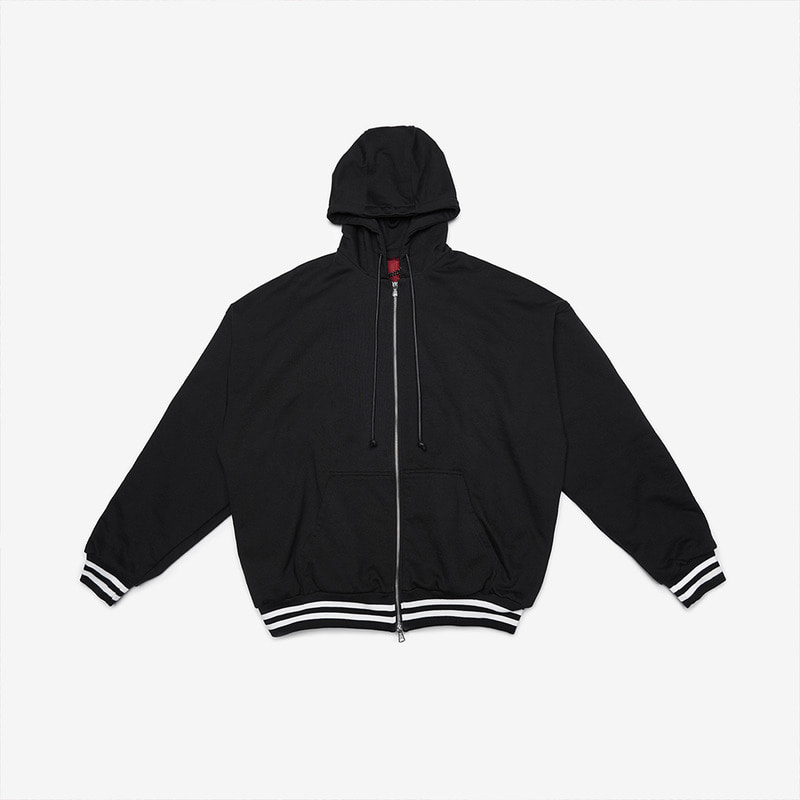 [DPRIQUE] OVERSIZED HOOD ZIP UP - BLACK