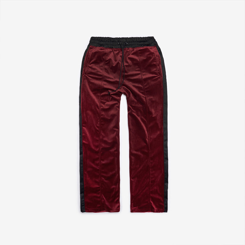 [DPRIQUE] VELOUR TRACK PANTS - BURGUNDY