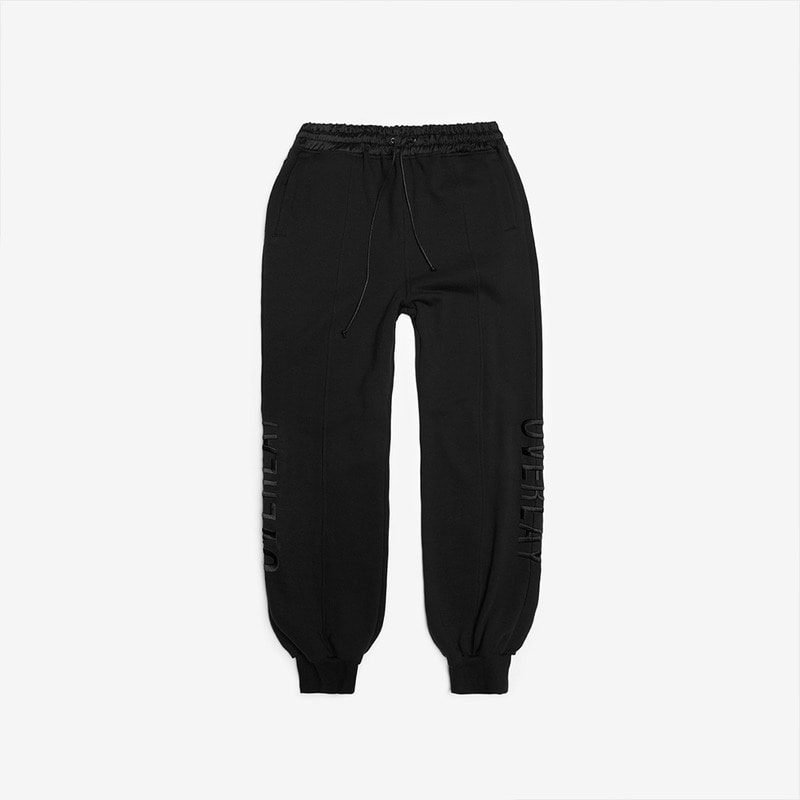 [DPRIQUE] SLOGAN JOGGER PANTS - BLACK