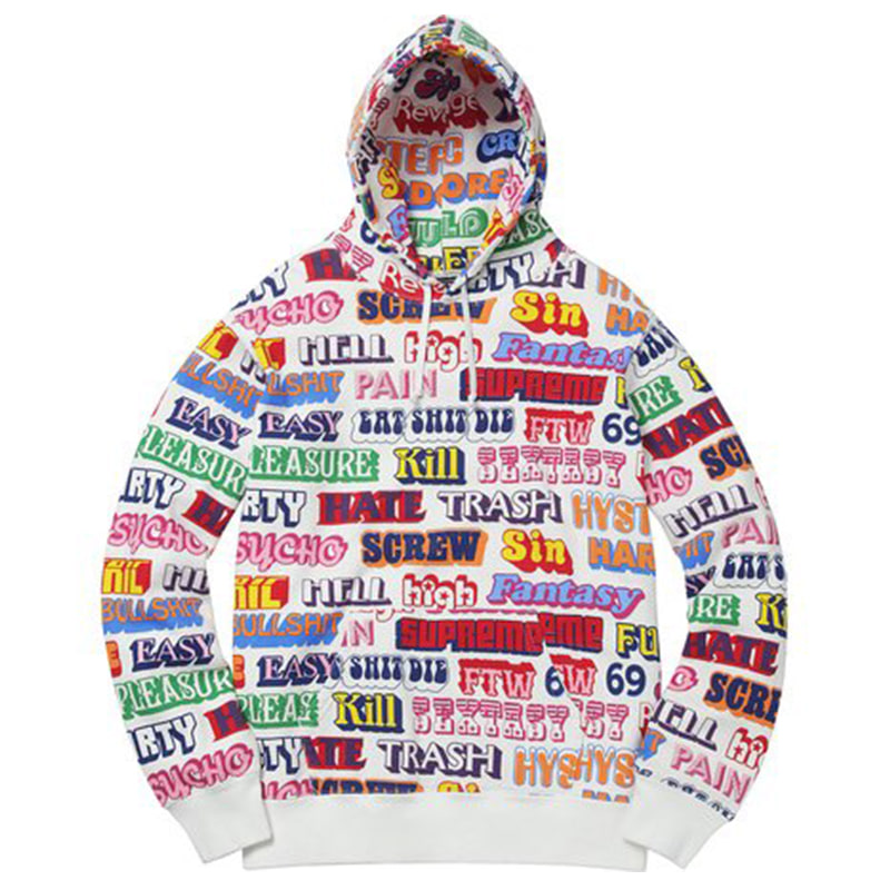 [SUPREME] HYSTERIC GLAMOUR TEXT HOODED SWEATSHIRT (WHITE)