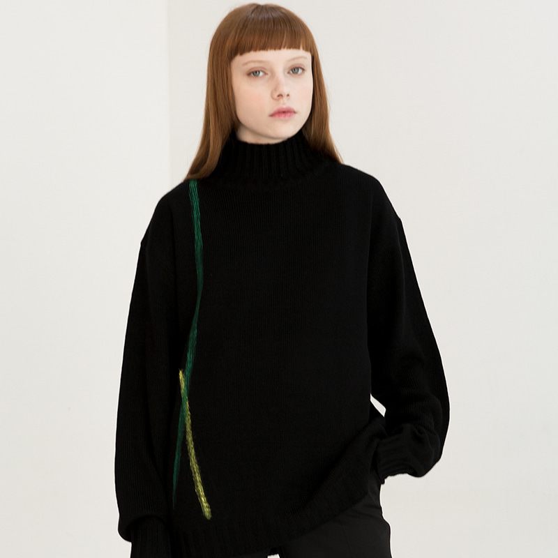 [IDIOTS] LINE HIGH NECK KNIT BLACK