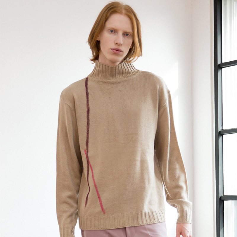 [IDIOTS] LINE HIGH NECK KNIT BEIGE