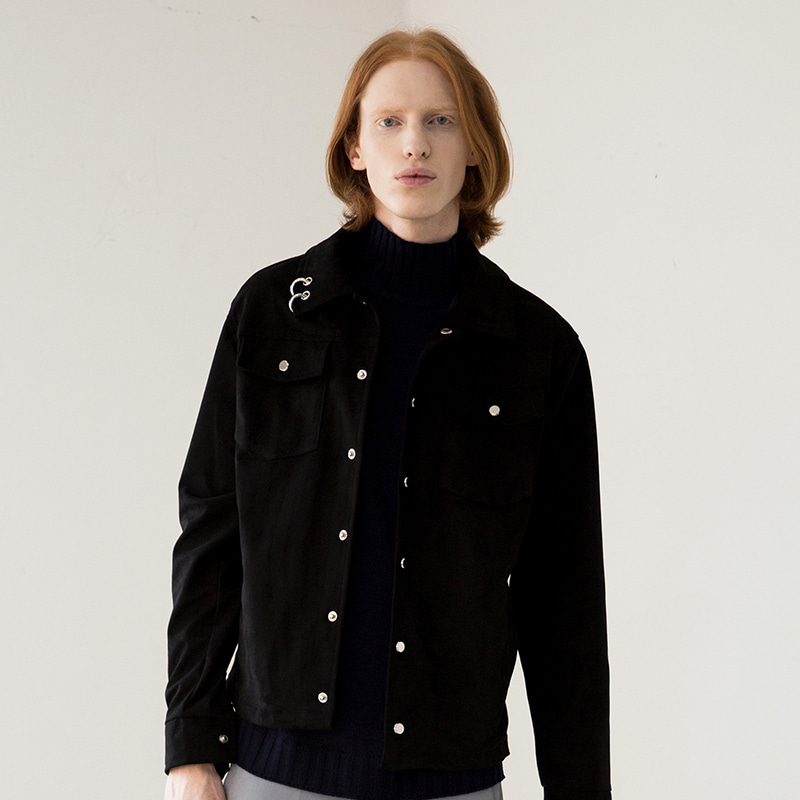 [IDIOTS] PIERCING ECO SUEDE JACKET BLACK