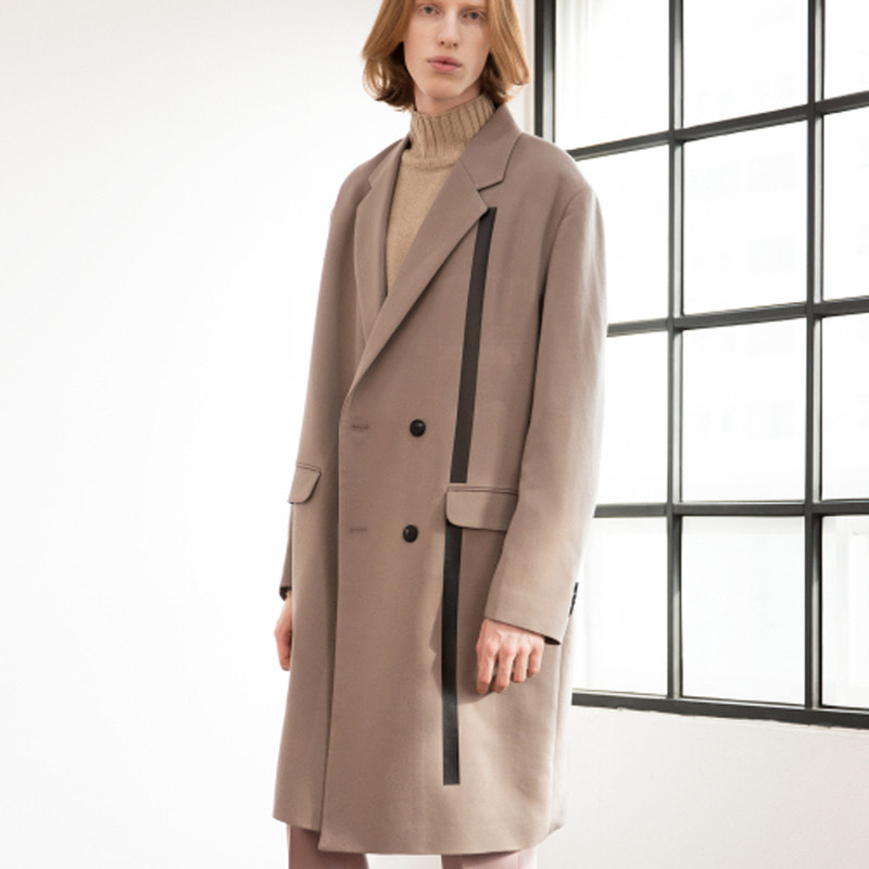 [IDIOTS] LINE DOUBLE WOOL COAT GREY