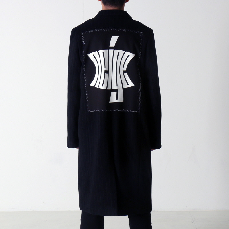 [$ SHOP SALE] [NEIGE] STRIPED PATCH WOOL COAT (BLACK)