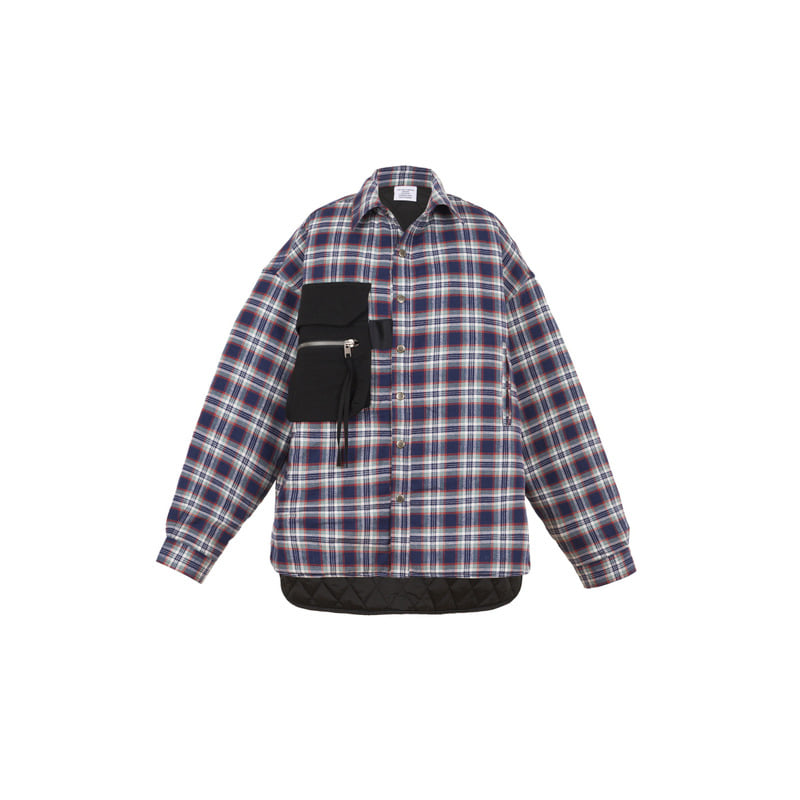 [VAN CALLE CAMINOS] Calle navy blue oversized pockets Flannel shirt