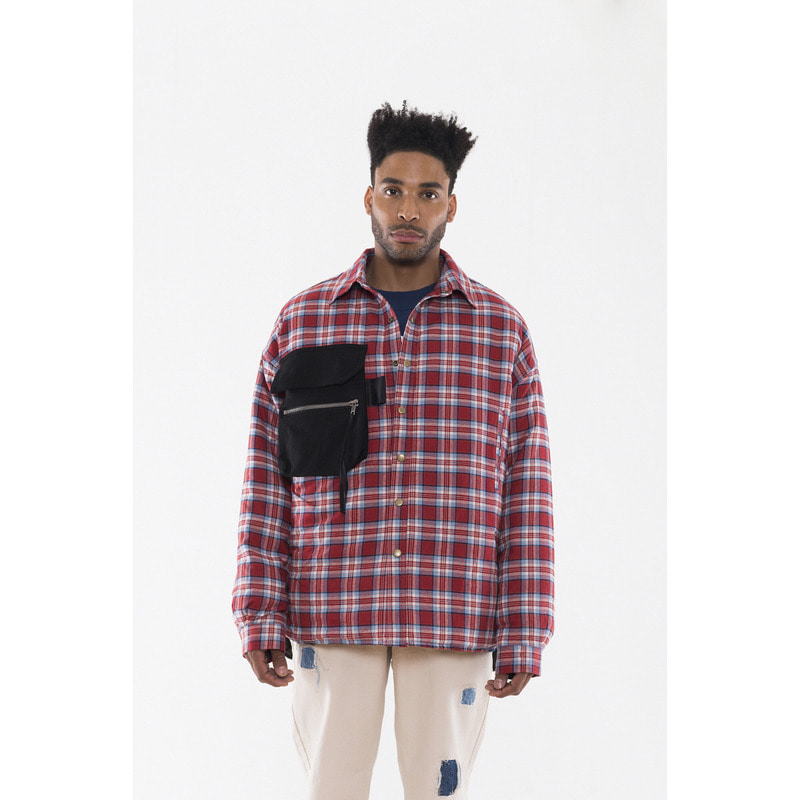 [VAN CALLE CAMINOS] Calle Red oversized pockets Flannel shirt