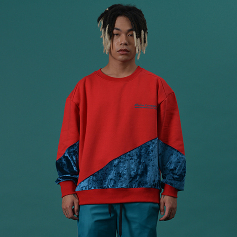 [WANTON] UNBALANCE SWEATSHIRT RED/BLUEGREEN