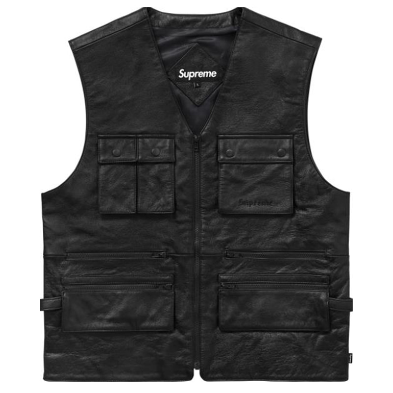 [SUPREME] LEATHER UTILITY VEST (BLACK)