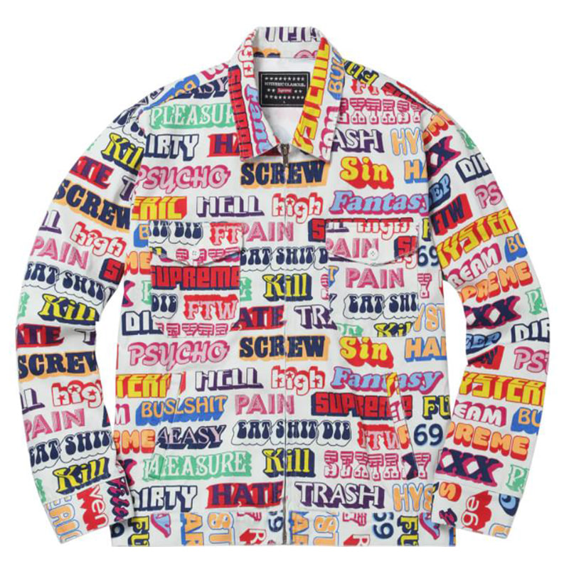 [쿠드그라스 연말 FINAL SALE] [SUPREME] HYSTERIC GLAMOUR TEXT WORK JACKET (WHITE)
