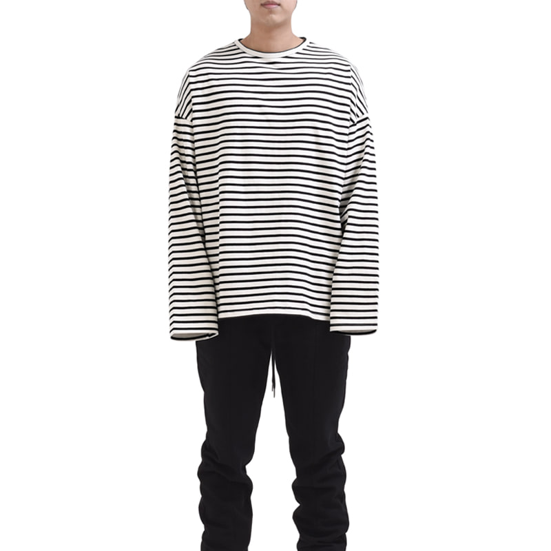 [RCNP] OVERSIZED STRIPE T-SHIRT (CREAM/BLACK)