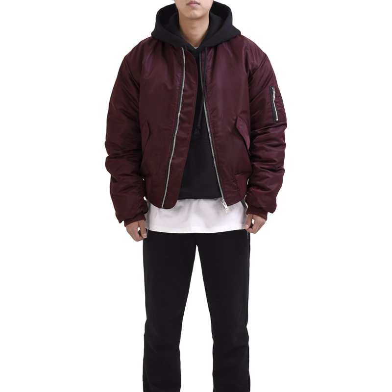 [RCNP] OVERSIZED HOODIE BOMBER (BURGUNDY)