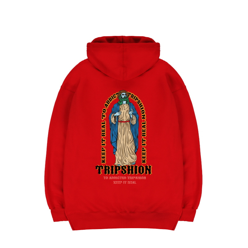 TRIPSHION JESUS STAND HOODIE - RED