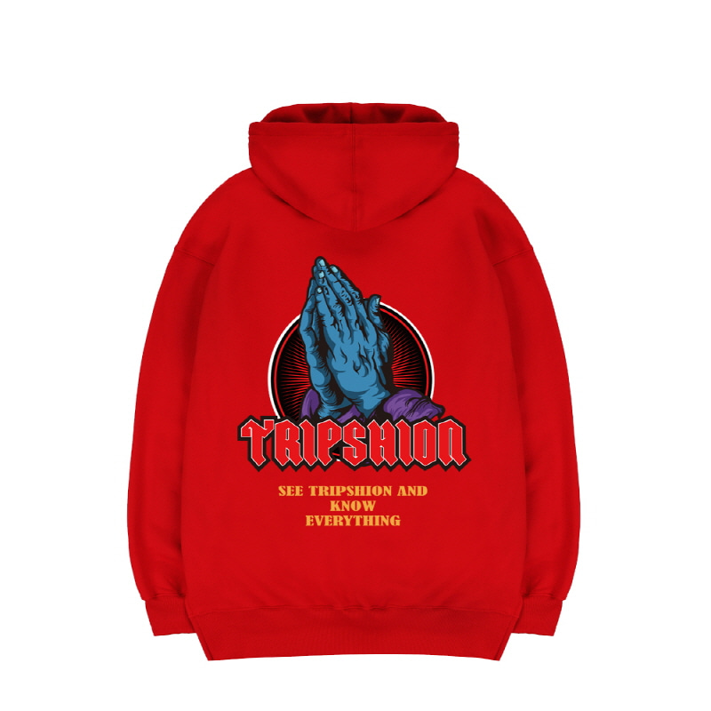 TRIPSHION PRAY HAND HOODIE - RED