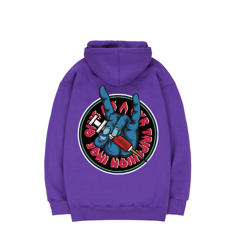 TRIPSHION BIG FINGER SYRINGE HOODIE - PURPLE