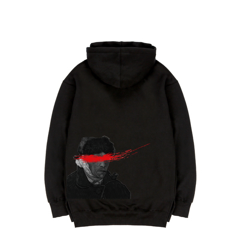 TRIPSHION VANGOGH RED SPLASH HOODIE - BLACK