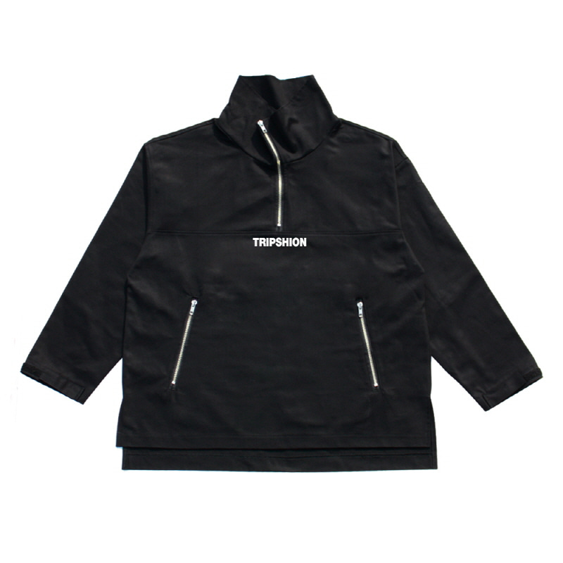 TRIPSHION HIGHNECK ANORAK JACKET - BLACK