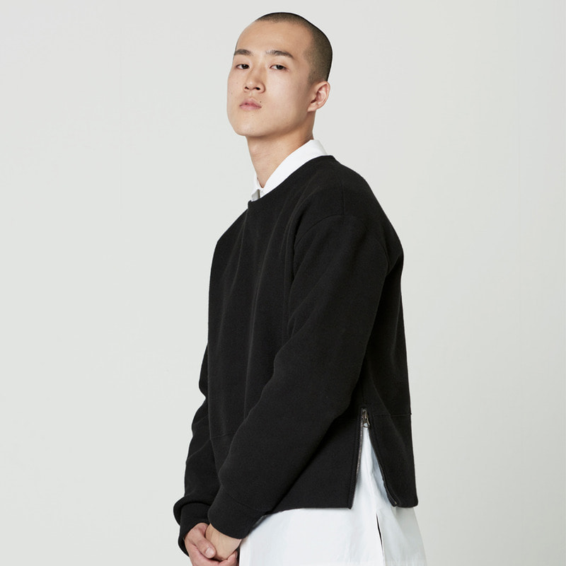 [NOVELLA] CROP ZIP SWEATSHIRT BLACK