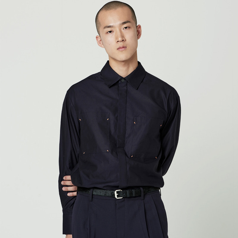 [NOVELLA] POCKET SHIRT NAVY