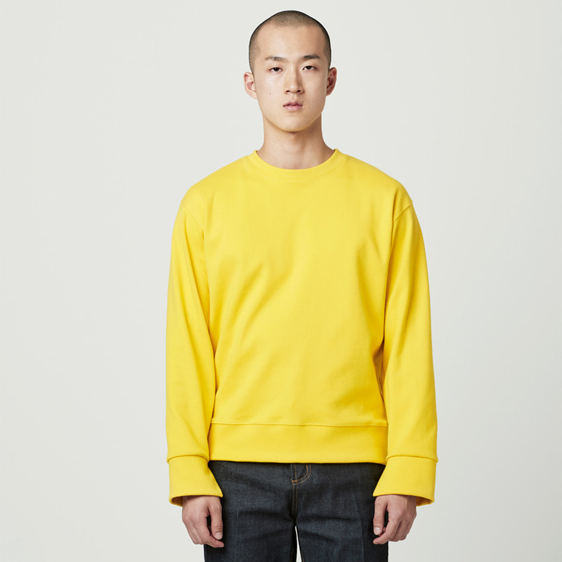 [NOVELLA] CUFFS CUT SWEATSHIRT YELLOW