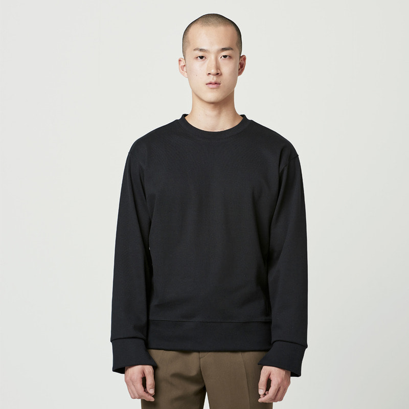 [NOVELLA] CUFFS CUT SWEATSHIRT BLACK