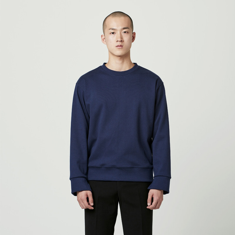 [NOVELLA] CUFFS CUT SWEATSHIRT NAVY