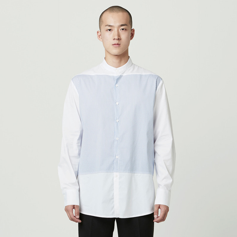 [NOVELLA] CHINA COLLAR STRIPE SHIRT WHITE