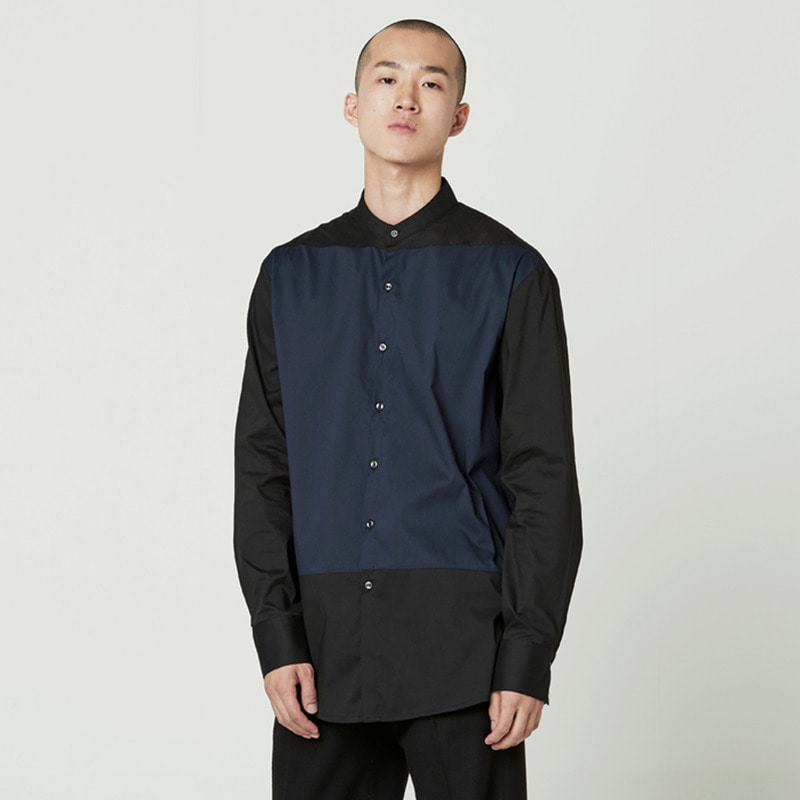 [NOVELLA] CHINA COLLAR TWO TONE SHIRT
