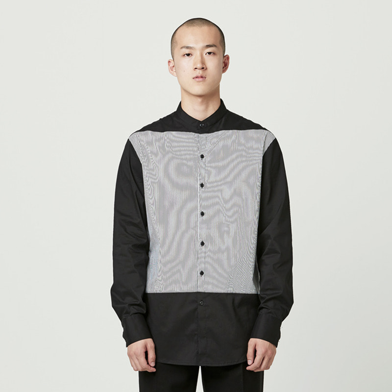 [NOVELLA] CHINA COLLAR STRIPE SHIRT BLACK